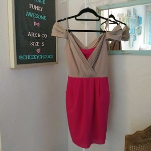 Anthro Ark & Co. mini dress hot pink pleated